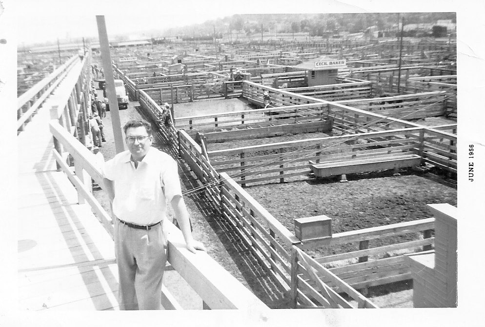 Dad had his livestock transit insurance office in the lobby of the Livestock Exchange Building in St. Joseph, Mo. We would go with him after dark to a remote part of the Yards and dig nightcrawlers for the next day's fishing expedition. He would have been 44 years old here (several years before me).