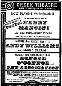 This is the ad for the concert I saw (among others) at the Greek Theatre in Los Angeles in 1967. Donald O'Connor and The Association played there for a week, July 24-30. [From gogonotes.blogspot.com/2010/04