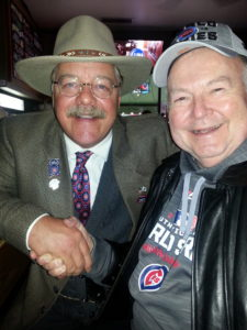 "Joe Wiegand promotes himself as ""the world's premiere Theodore Roosevelt reprisor"" introduced himself to Terry while we sat at Murphy's Bleachers, a bar in Wrigleyville. [Gretchen Lord Anderson photo}"