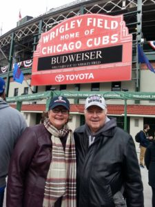 That's us on our outing to Wrigleyville during the World Series. Never got inside this time. Tickets, if they were available, were beyond our ability to pay. A complete stranger took this picture and then we returned the favor. Everyone was smiling.