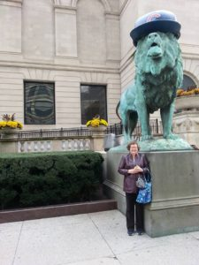 "This photo is here ""just because."" The Chicago Art Institute put Cubs hats on the two magnificent lions in front of the building. [Terry C. Anderson photo]"