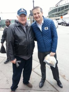 As if they were old friends, Terry and Cubs owner Tom Rickets smile for the camera in Wrigleyville. [Gretchen Lord Anderson photo]